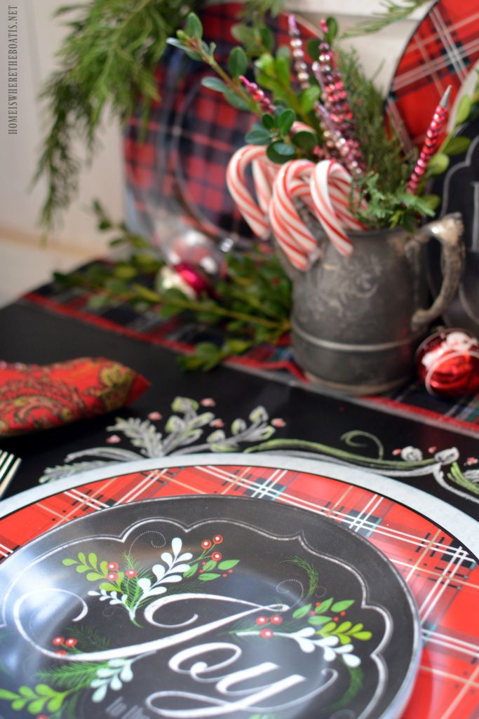 Plaid Tidings Christmas Table with fresh greenery, vintage ornaments and chalkboard runner | homeiswheretheboatis.net #tartan #pottingshed
