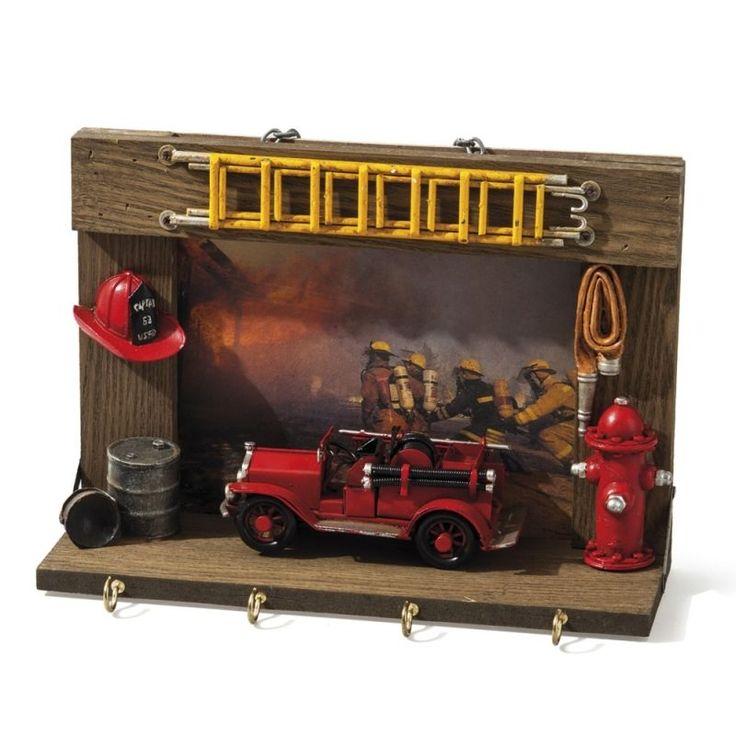 Fire truck / Fire engine vintage tin toy on a wooden key rack hook holder frame
