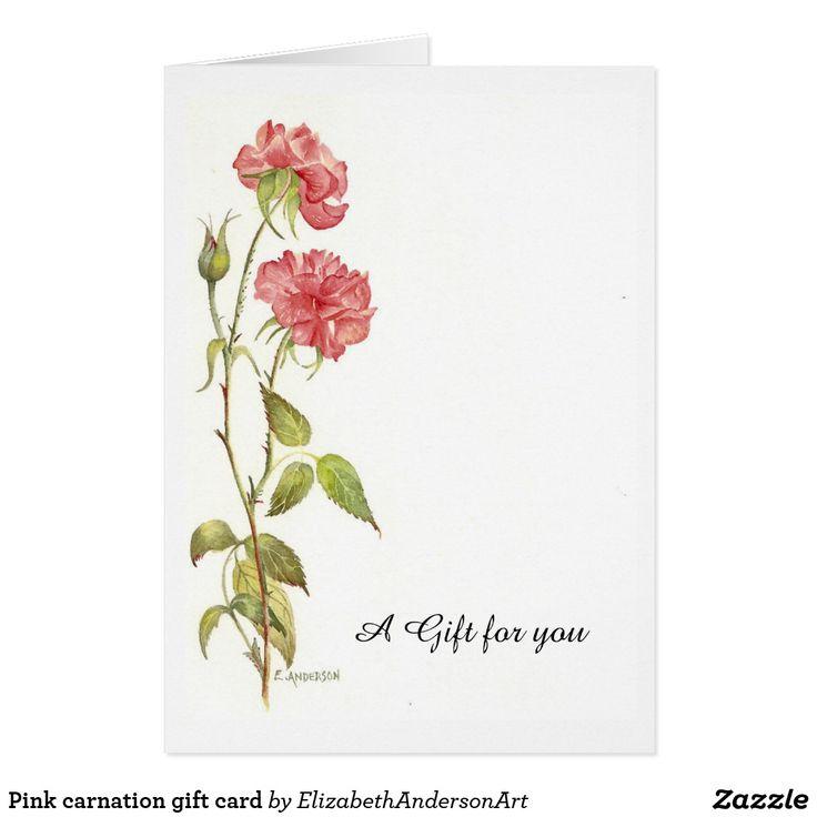 Pink carnation gift card