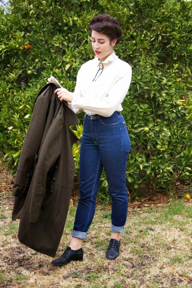 dear mr rabbit blog teddy girl high waist jeans and blouse vintage retro outfit