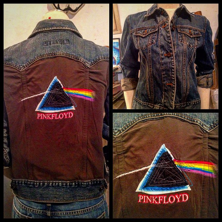 Using a vintage ladies' Medium Gap denim jacket and a Pink Floyd t-shirt panel $25-- we combined the two to create this unique one of a kind garment. It's sure to be one of your favorite go-to's and just in time for all your favorite music festivals! Like this item? Find this and more on Pat-t-Shirt.com or at our shop in Niles, Ohio. #pinkfloyd #denimjacket #vintage #tshirt #isthereanybodyoutthere #anotherbrickinthewall #festivalfashion #repurposedfashion #upcycledclothing #pattshirt