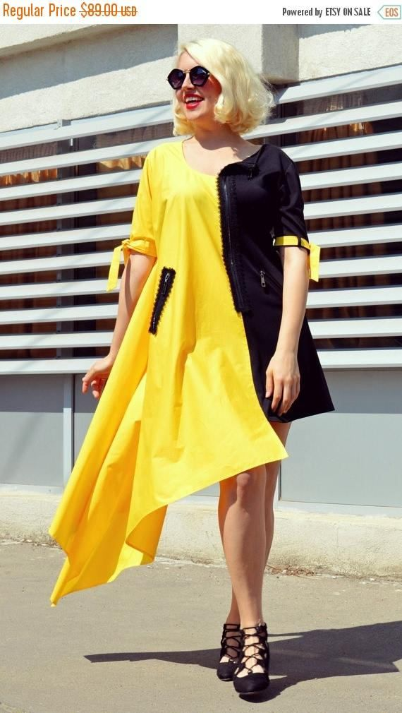 Check out this item in my Etsy shop https://www.etsy.com/listing/276343830/sale-black-and-yellow-summer-dress