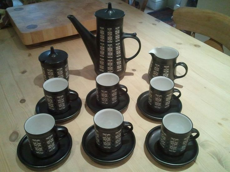 Vintage Ambleside Coffee Set  Studio Art pottery George Cook Abstract Sgrafitto