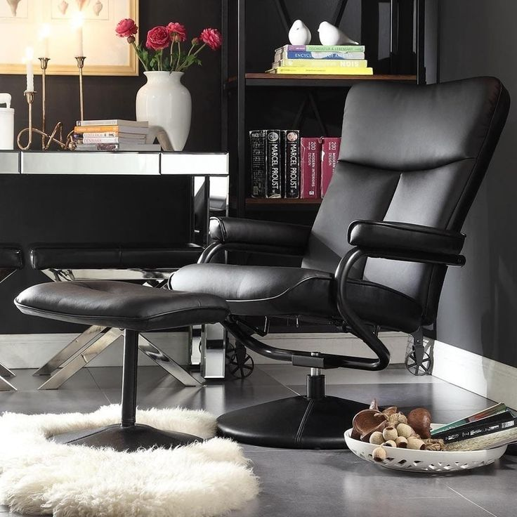 Olivia Bonded Leather Swivel Recliner Chair with Ottoman iNSPIRE Q Modern (Olivia Black)