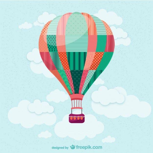 Balão de ar quente no vetor céu Vetor grátis