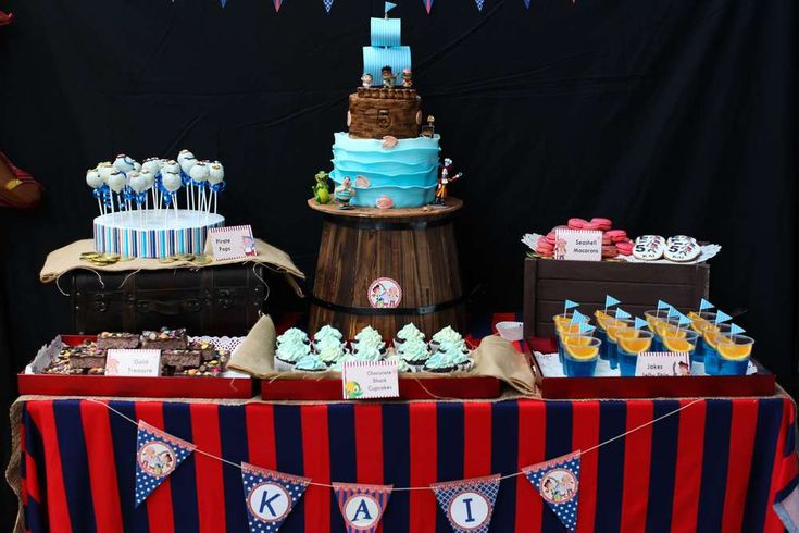 Red and blue Jake and the Neverland Pirates birthday party!  See more party planning ideas at CatchMyParty.com!