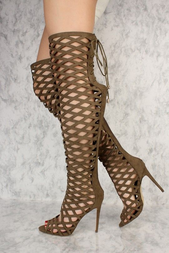 12b343761b48 Olive Caged Back Lace Up Peep Toe Thigh High Heels AMI Clubwear Boots Faux  Suede