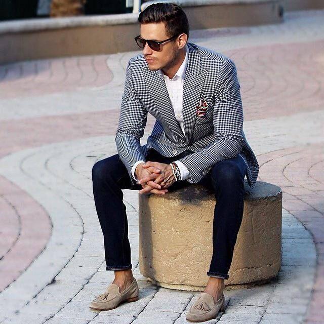 Men's Black and White Gingham Blazer, White Dress Shirt, Navy Skinny Jeans…
