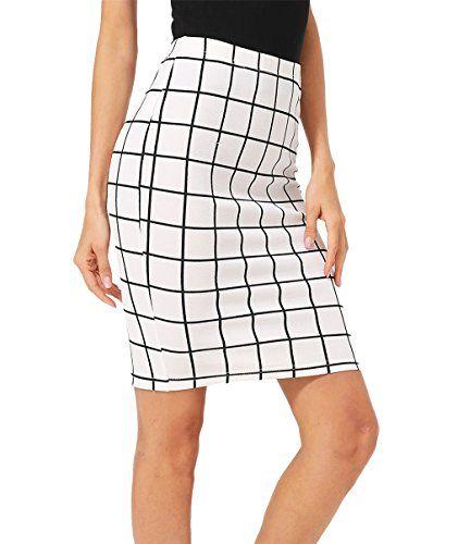 d676714881 Floerns Women's Plaid Print High Waist Knee Length Bodycon Pencil Skirt  White
