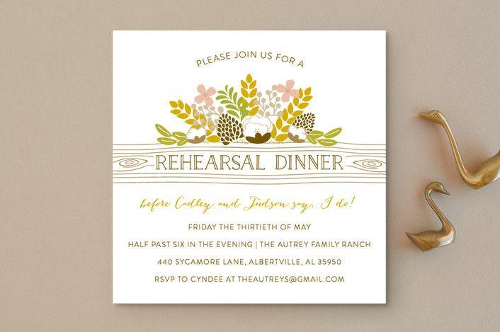 """Rustic Charmer"" - Rustic Rehearsal Dinner Invitations in Ivory by Clair Landers."
