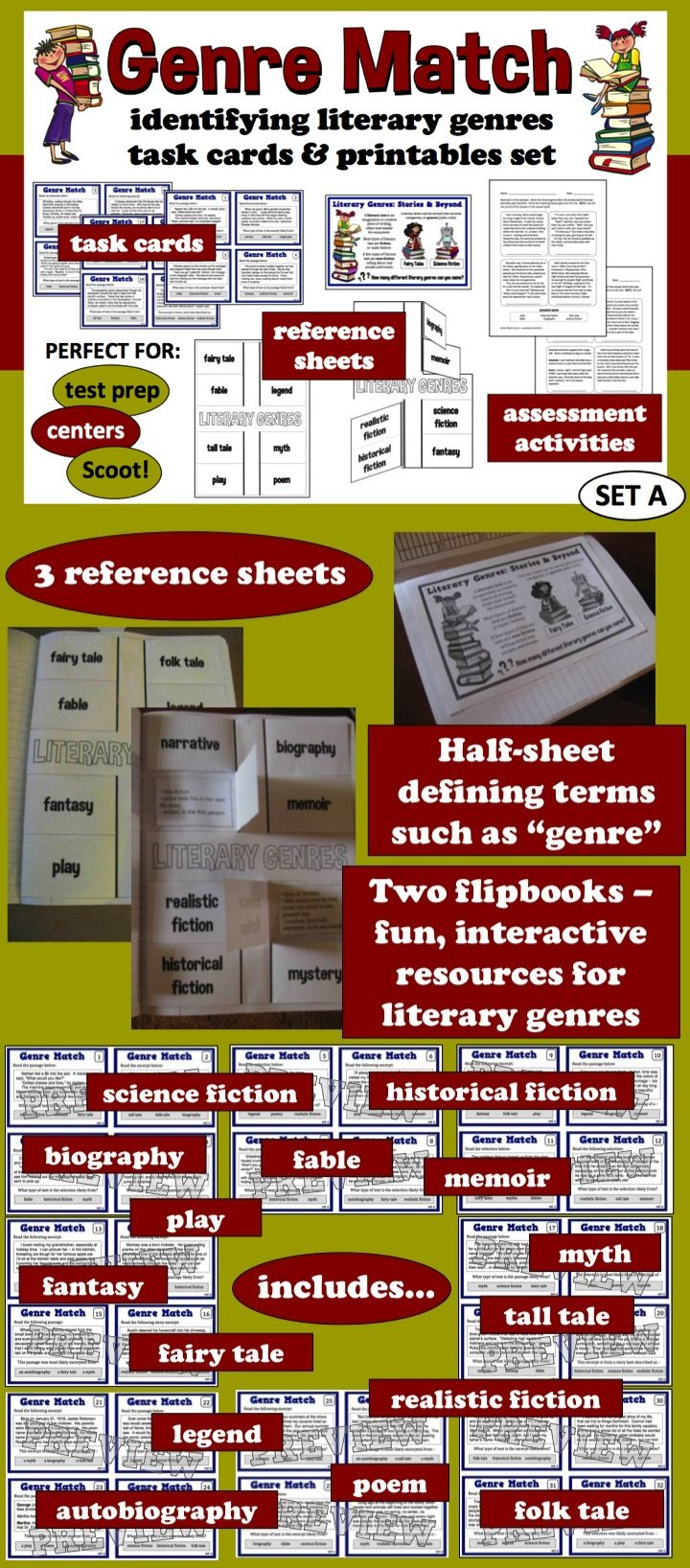 Task cards, reference sheets, and assessment activities for identifying literary genres. $