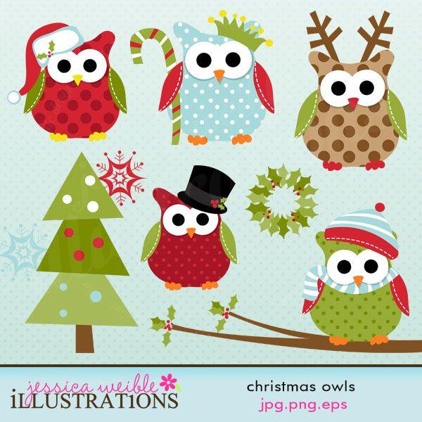 Christmas Owls - Clip Art Bundles - JW Illustrations: Clipart, Graphic Design, Cute Clip Art