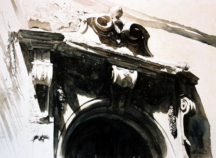 Paul Dmoch (b. 1958, Warsaw, Germany, based Brussels, Belgium) - 1: Unknown Title 2: Nef, Eglise des Piaristes, Cracovie, Pologne, 1989 3: Portail Via Dei Servi, Florence, Italy, 2001 4: L'aile d'un Ange Sur Le Mur de Florence, Italy, 2011 5: Escalier-detail, Maison Victor Horta, Bruxelles, 1992 Paintings: Watercolors