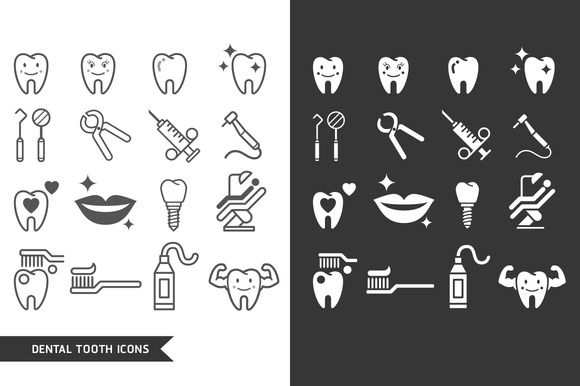 Dental Tooth Icons Set. by Graphixmania on @graphicsmag