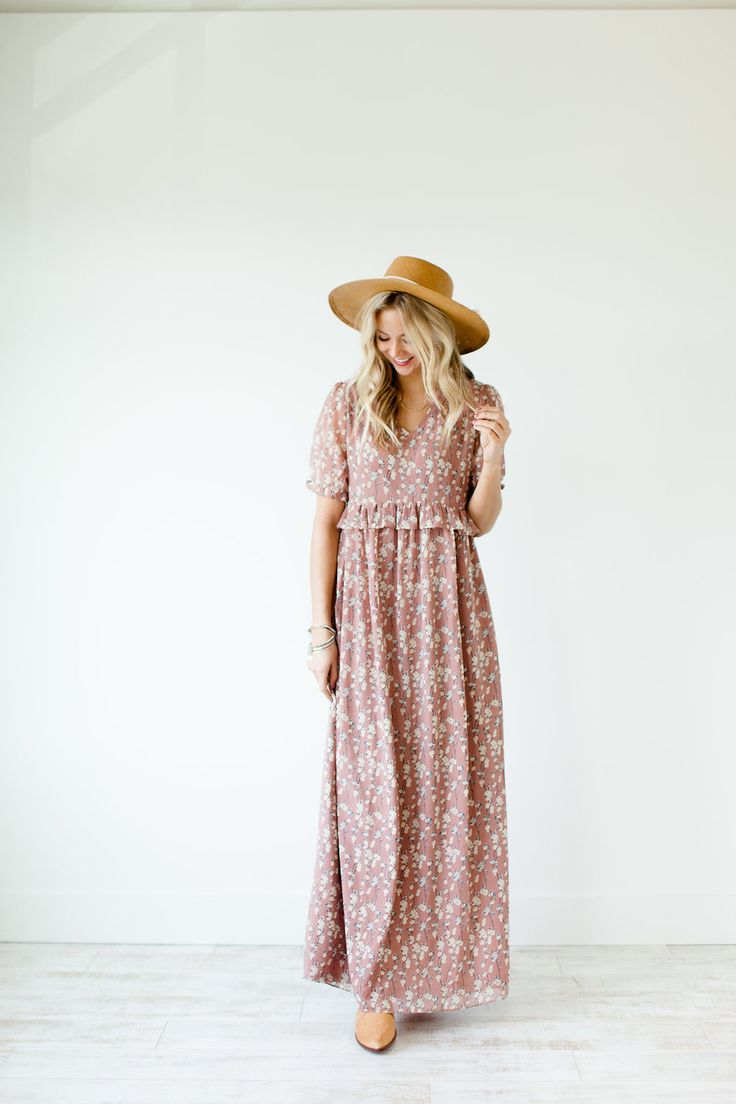 "Mauve Floral Print Maxi Dress V-Neck + Gathered Ruffle Empire Waist Sheer 1/2 Sleeves + Elastic Cuff Fully Lined Bodice + Skirt Zippered Back View Size Chart Model is 5'9"" + Wearing a Small"