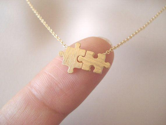 Collana oro puzzle... minimalista dainty di blueJboutique7 su Etsy