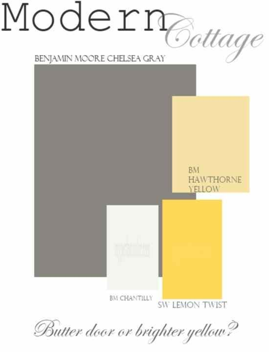 Just a great color palette to use with my favorite gray. Chelsea Gray Siding- BM Chantilly White- Trim Hawthorne Yellow OR Lemon Twist Door Or apple green door! thinking of this for living room