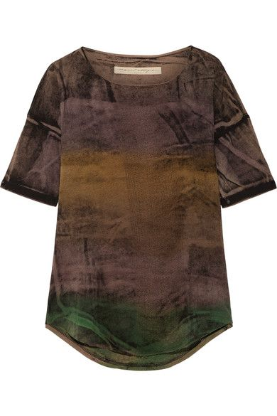 Raquel Allegra - Distressed Tie-dyed Stretch Cotton-blend T-shirt - Brown - 3