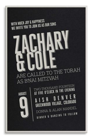 Contemporary Black and Silver Bar Mitzvah Invitation by Luscious Verde Cards
