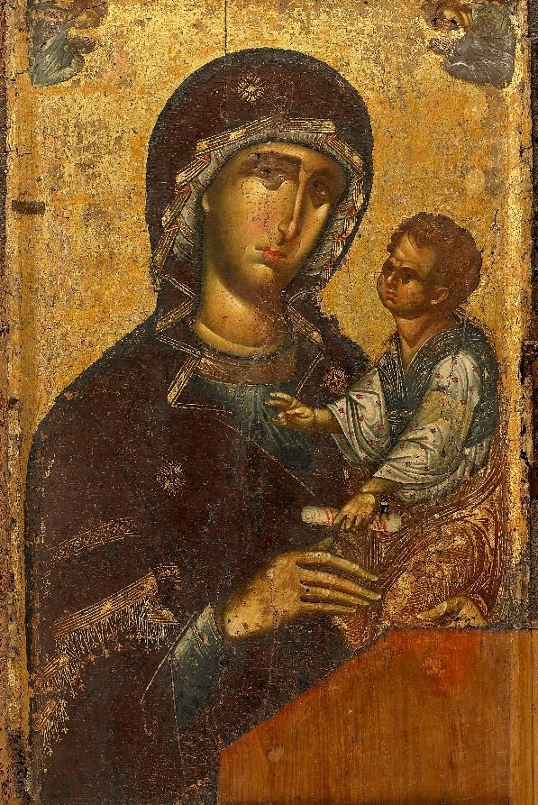 "Theotokos Hodegetria from Vatopedi Monastery, Mount Athos, 14th century ~ (Greek: Ὁδηγήτρια, literally: ""She who shows the Way""), or Virgin Hodegetria, is an iconographic depiction of the Theotokos (Virgin Mary) holding the Child Jesus at her side while pointing to Him as the source of salvation for mankind."