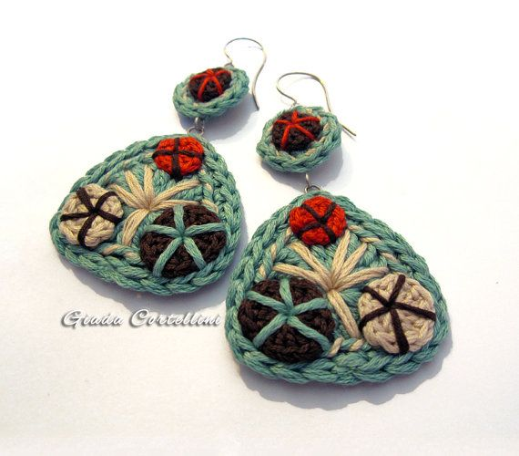 Dangle Earrings, crochet, cotton yarn, 100% vegan, cruelty free, embroidered, brown, aqua, terracotta, cream, stainless steel