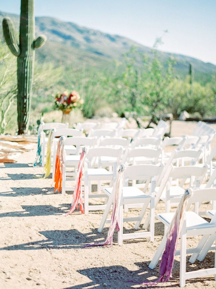 Photography : Elyse Hall Photography | Venue : Tanque Verde Guest Ranch | Event Planning : Imoni Events Read More on SMP: http://www.stylemepretty.com/little-black-book-blog/2016/10/04/colorful-same-sex-desert-wedding/