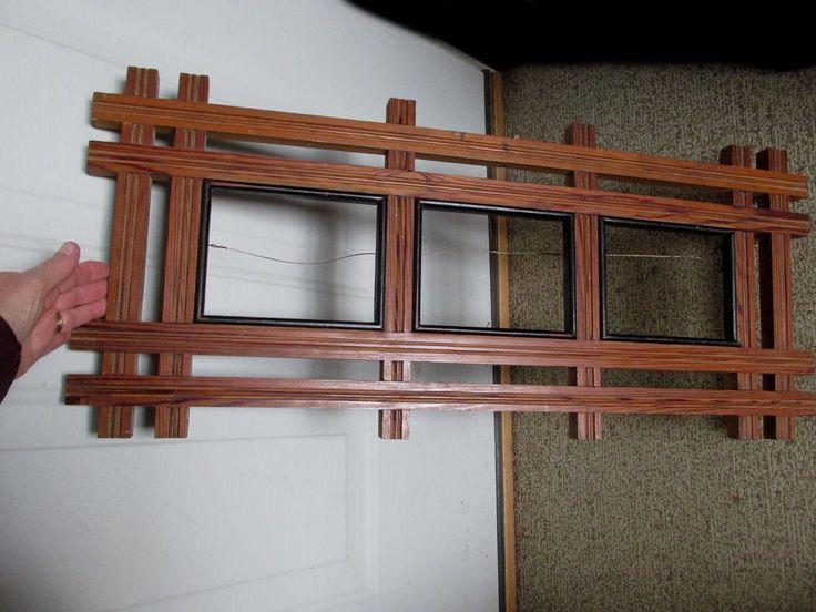 Large Antique Folk Art Picture Frame, Heart Pine