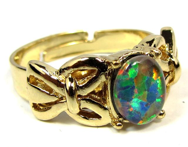 BRIGHT OPAL RING ADJUSTABLE SIZES CSS 156