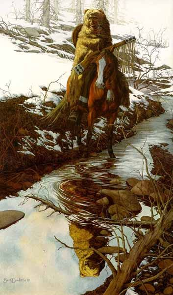 """Bev Doolittle """"SPIRIT OF THE GRISSLY"""" 1981 The grizzly wrapped Blackfoot Indian actually reflects as a grizzly."""