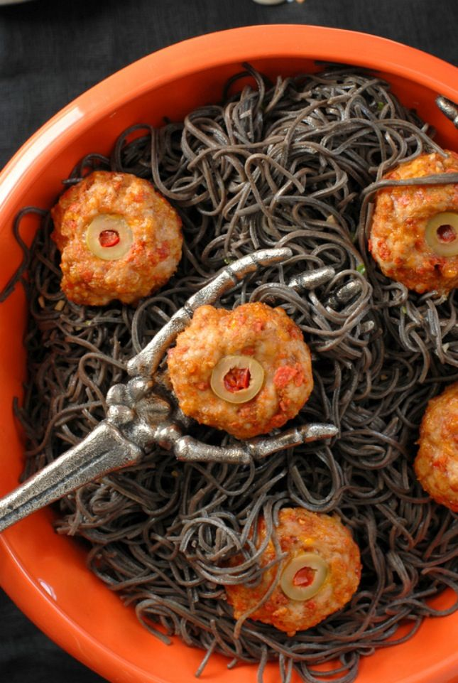 use this creative halloween recipe to make diablo eyeballs taco meatballs and black bean - Scary Halloween Meatballs