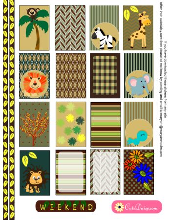 FREE Printable Jungle and Safari themed Stickers  for Happy Planner and Erin Condren Life Planner by Cutedaisy
