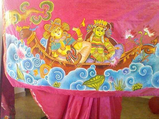 Kerala mural on saree from sowmya arts and crafts for Arts and crafts mural