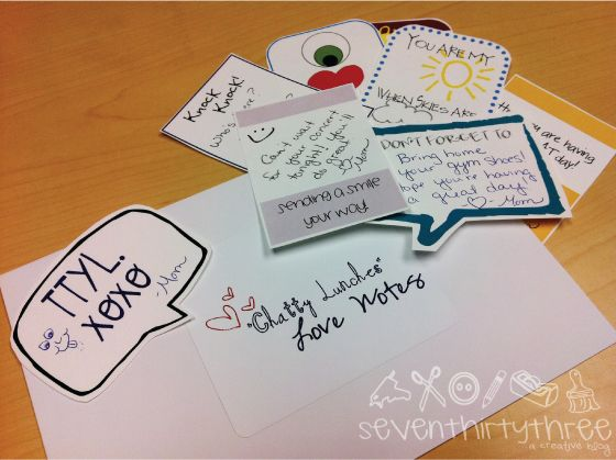 "seven thirty three - - - a creative blog: ""Chatty Lunches"" Love Notes Freebie"