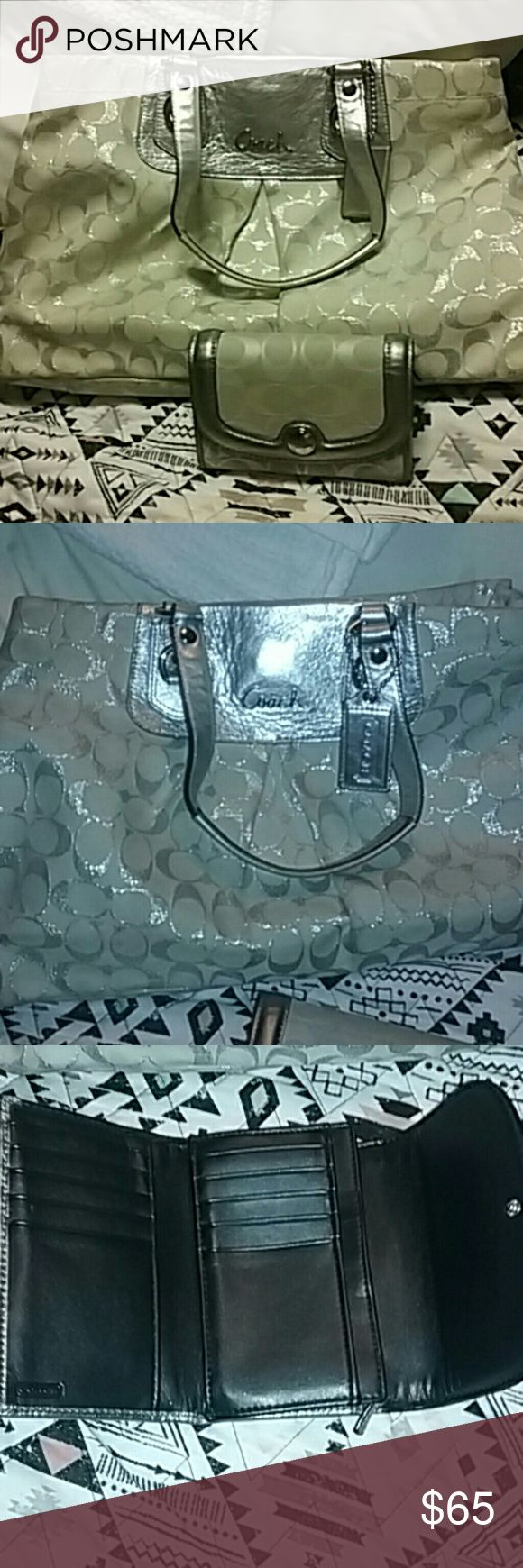 Coach Purse and wallet White and sliver Coach purse with just the right bling. Inside clean. Wallet  excellent condition no wear on edges. A little wear on corners of purse. Coach Bags Satchels