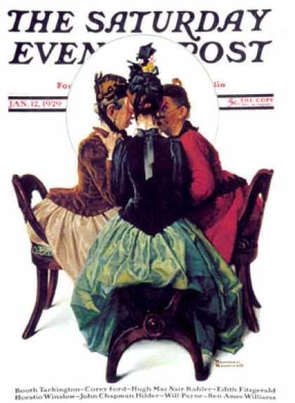 """Three Gossips"" Saturday Evening Post - 1929-01-12 (Norman Rockwell)"