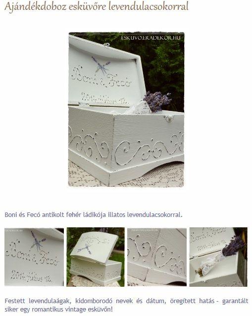 Ajándékdoboz esküvőre levendulacsokorral. Nézd meg, katt az alábbi linkre >> http://eskuvo.eradekor.hu/ajandekdoboz-eskuvore-levendulacsokor/