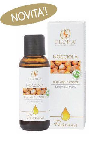 Olio di Nocciola Bio - Flora. E' un ottimo olio  per uso cosmetico dal gradevole aroma, astringente, emolliente e tonificante per ogni tipo di pelle anche le più delicate dei bambini. Particolarmente indicato per pelli molto secche e disidratate. Rigenerante per pelli senescenti. Viene assorbito dalla pelle con molta facilità. In relazione ai principi dell'Ayurveda, l'olio di Nocciola è un riequilibrante della pelle VATA (caratterizzata da pelle secca, sottile, rugosa, fredda e screpolata).