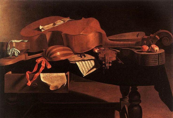 Baschenis - Instruments de musique baroque sur une table Musées royaux des beaux-arts de Belgique. - 63) MUSIQUE BAROQUE: Au sens le plus large on considère la période baroque en musique s'étendant de 1600 à 1750, la musique baroque étant directement inspirée de l'architecture baroque. Le baroque couvre donc une large période de l'histoire de la musique et de l'opéra. Il s'étend du début du 17°s environ au milieu du 18°s, de façon plus ou moins uniforme selon les pays.