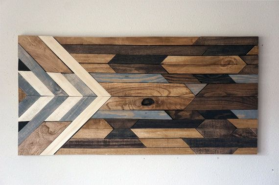 This piece is made to order. Lead time for shipping is 4 to 6 weeks.  The photos shown are from 2 previously sold beautiful rustic art pieces made with reclaimed wood. We have finished each piece of wood by hand and stained the piece with 5 different stain colors. Very rustic and chevron design! I try the best to match the photo on this listing, using the same type of wood and stain colors! Sizes: 15 height X 30long 20 height X 40long  Proper hangers are attached for easy hanging. Self…