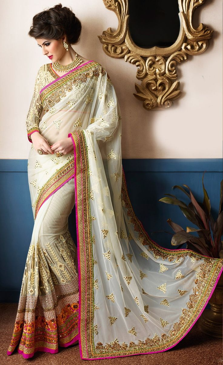 191022: White and Off White color family Bridal Wedding Sarees, Party Wear Sarees with matching unstitched blouse.