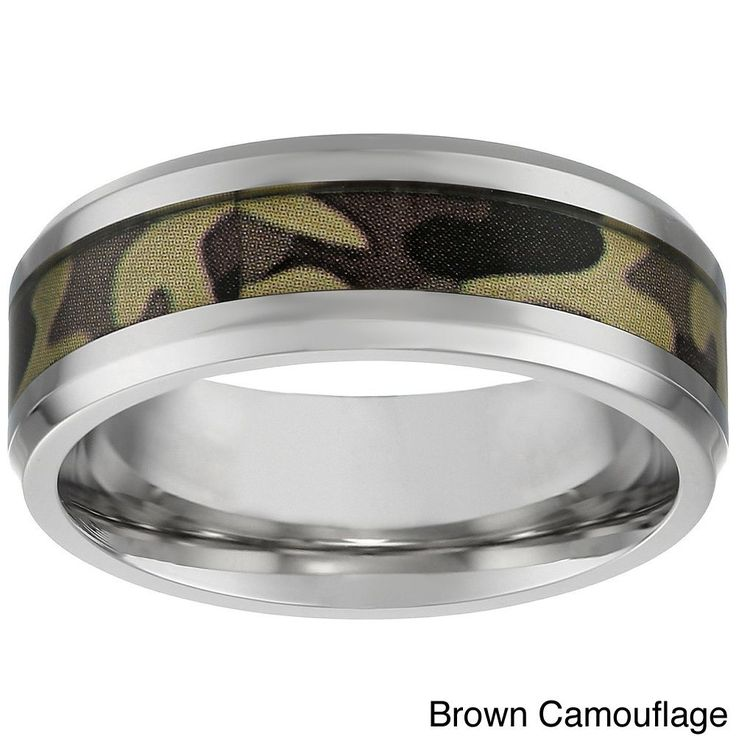 Stainless Steel Men's Camouflage Accent Ring (Brown Camouflage Ring in size 11)