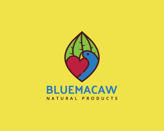 Stylized logo with the shape of a leaf in conjunction with a heart and a blue macaw with green, red, blue and brown colors.(logo for sale, logo design, Environment, macaw, animal, bird, leaf, heart, natural products, nature, pet shop, lovely, parrot, logo).