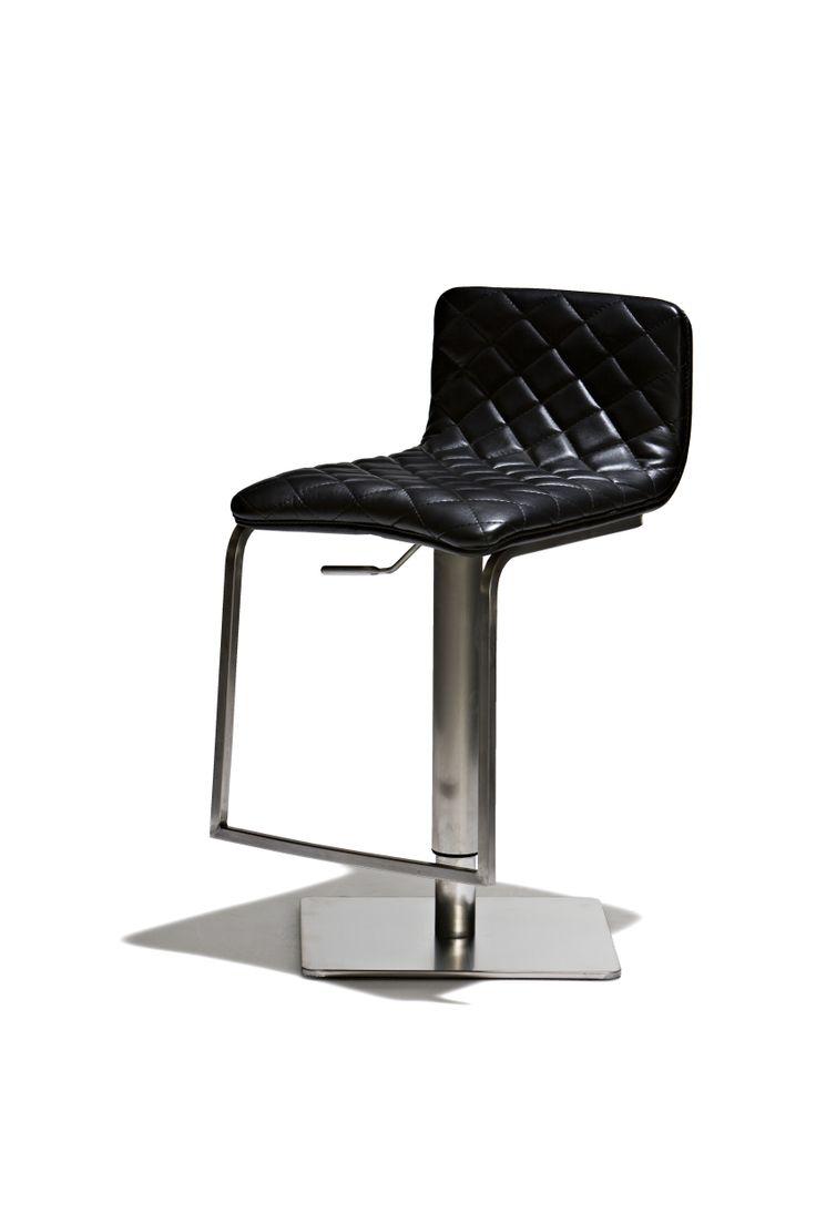 Victory - Barstol, höj- och sänkbar med sits i konstläder och underrede i borstat stål.