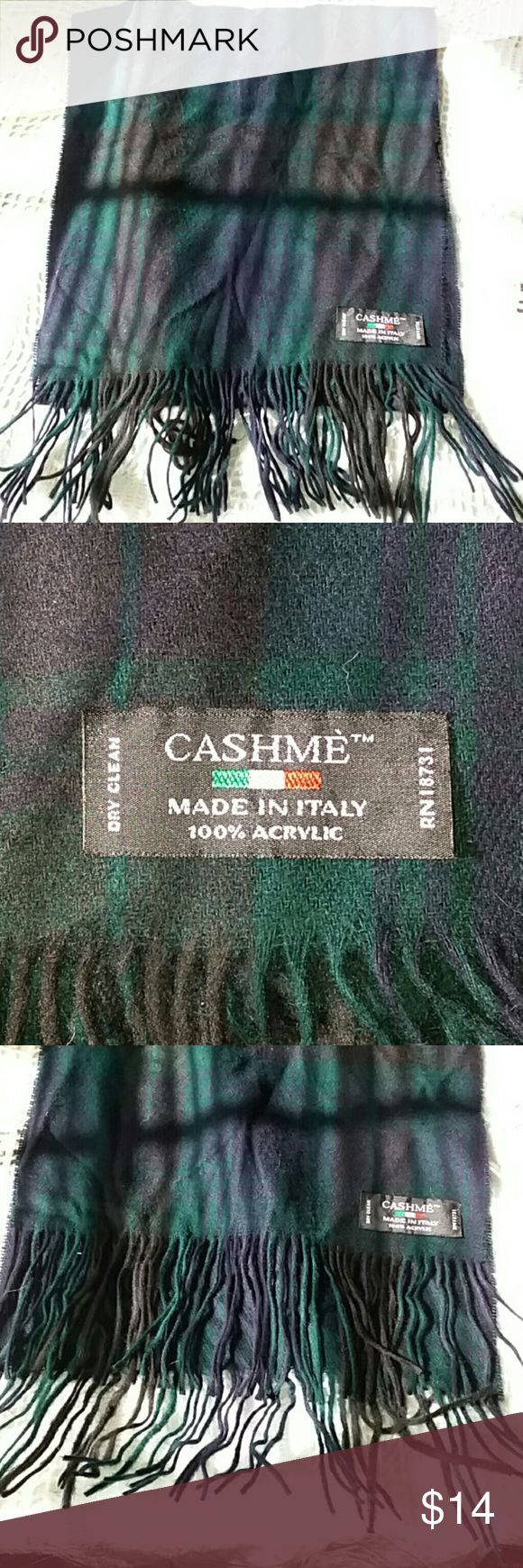 """Cute Plaid Green/Blue Cashmè Acrylic Scarf Women's Cashmè Geoffrey Beene Evergreen and Navy Blue scarf tassle  11""""× 52""""  Made of 100% Acrylic  Made in Italy  Fast shipper❣ Please make sure to check out my other listings to be able to bundle and save more💰 Cashmé Accessories Scarves & Wraps"""