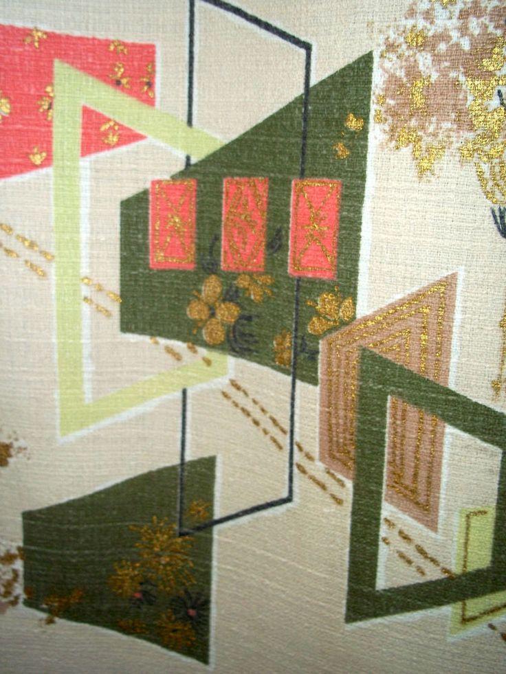 Vintage Mid Century Modern Abstract Barkcloth Fabric