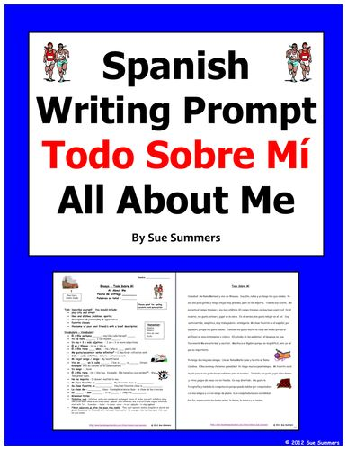 Spanish Writing Prompt / Essay Todo Sobre Mi - All About Me -TES - Sue Summers