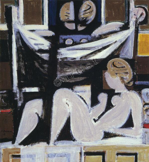 γιάννης μόραλης πινακες - Γιάννης Μόραλης, Νέα γυναίκα, 1971-72, ακρυλικό σε μουσαμά, 116 x 106 εκ.