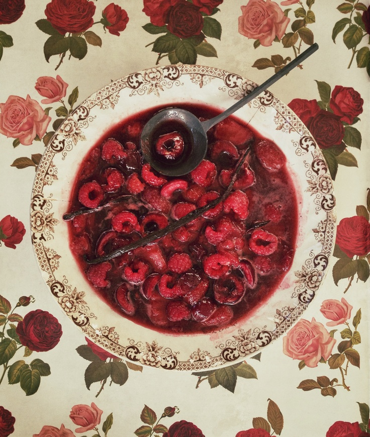 Rose water and berry compote.