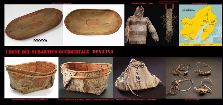 """I Dena'ina (Tanaina) """"Il popolo"""", originari dell'Alaska centromeridionale, sono l'unico gruppo Dene ad affacciarsi sul mare, questo gli ha esposti a forti influenze Eschimesi (Yupik centrali e Sugpiaq) e permesso uno stile di vita più sedentario"""