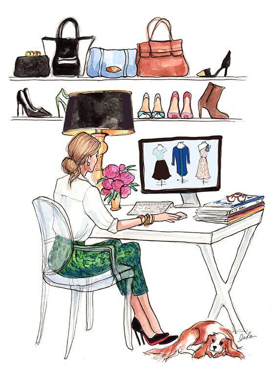 O dia-a-dia no escritório - ilustração de Inslee Haynes #fashion #sketches
